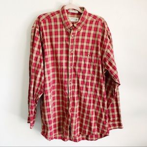 Orvis Red Plaid Button Long Sleeve Shirt Large